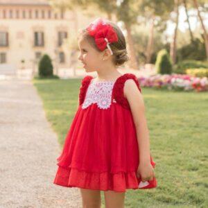 vestido-rojo-tul-plisado-dolce-petit-